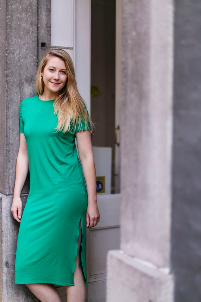 Green viscose dress | Olá Lindeza