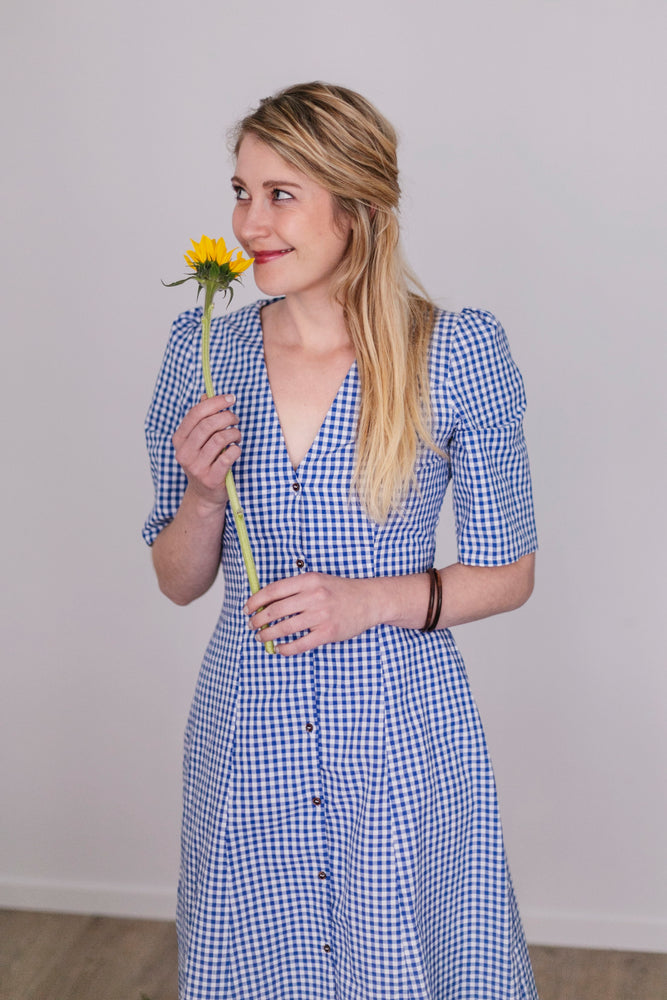 Blue checkered silhouette dress | Olá Lindeza