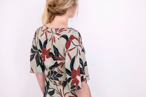POMPEI DRESS olive flowered (sold out)