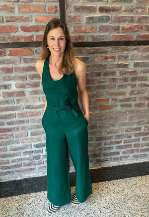 Bottle green summer jumpsuit | Olá Lindeza