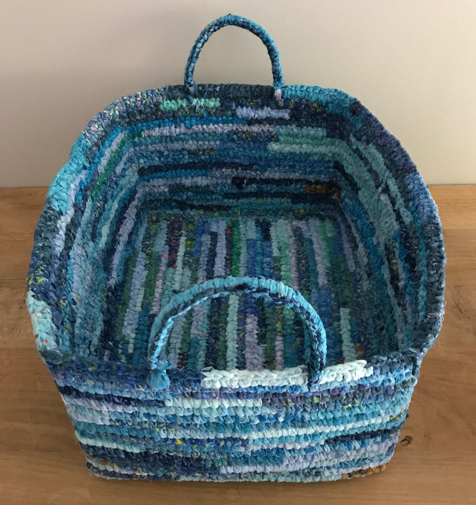 Blue Up-cycled fabric basket | Olá Lindeza