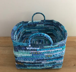 Pepa up-cycled fabric basket (blue tones)