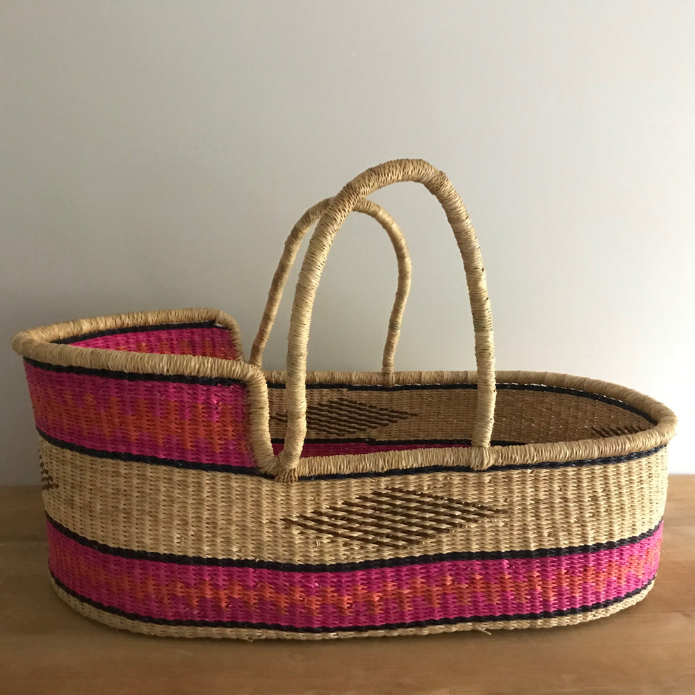Pop of Pink Woven Baby Moses Basket (vegan)
