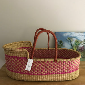 Raspberry Woven Baby Moses Basket
