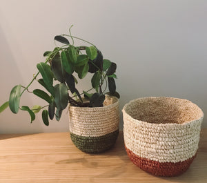 Lux seagrass plant basket (natural & maroon)