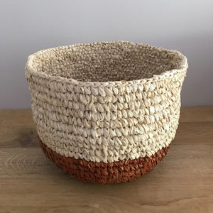 Natural Seagrass Basket in maroon & natural | Olá Lindeza