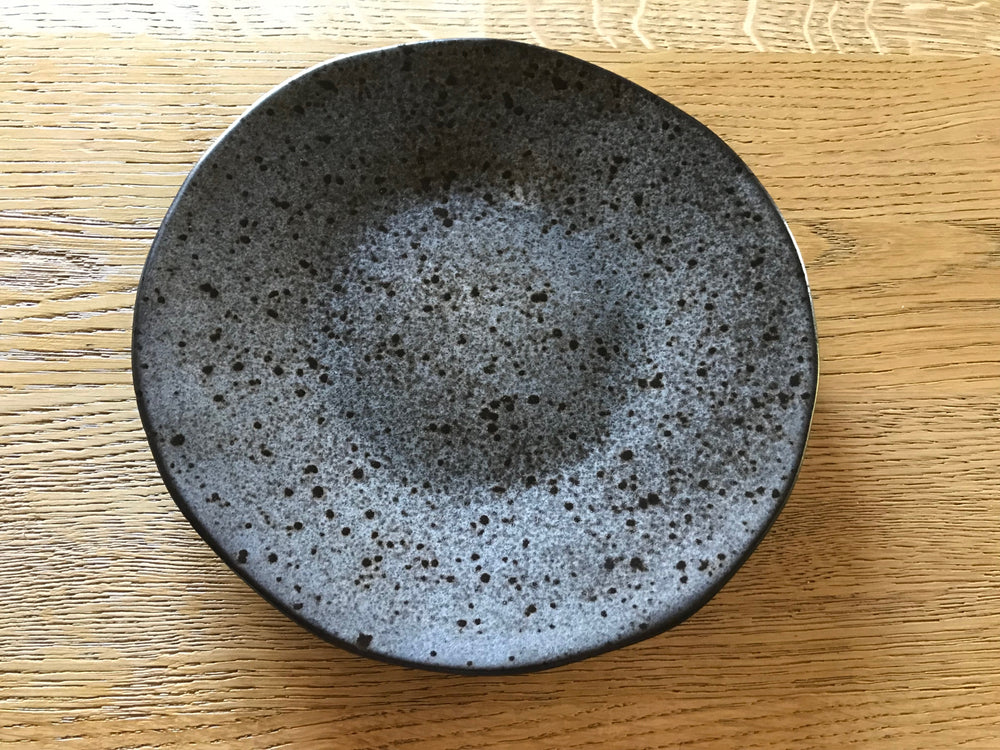 Black Speckled Ceramic Dessert Plate