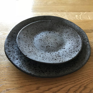Black speckled ceramic side plate