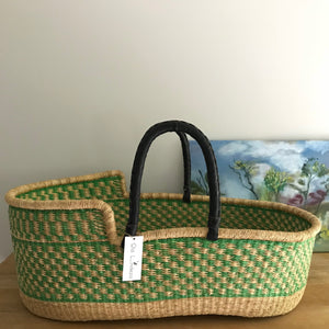 Lime woven baby Moses basket