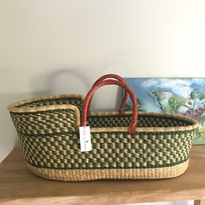 Olive Green Woven Baby Moses Basket