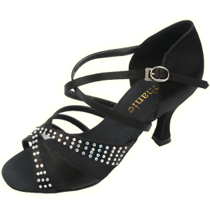Stephanie Satin with Mesh and Rhinestones Ballroom Shoe