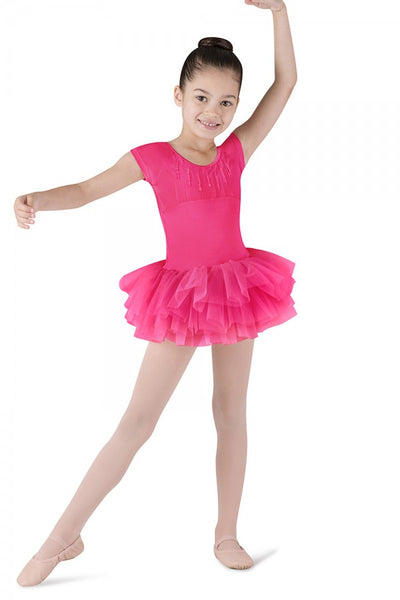 Bloch Sequin-Trim Heart-Back Cap-Sleeve Children's Tutu Dress