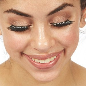 Rhinestone Band Eyelashes with Glue