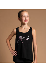 Motionwear Love Black High Low Tank