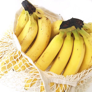Bananas in Kalleco organic cotton net totes