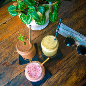 Smoothie recipes which are healthy, vegan and best enjoyed through a reusable metal straw for zero waste