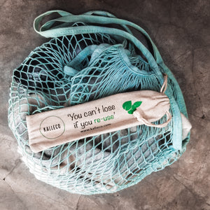 Reusable net tote and metal straws with Kalleco slogan 'You can't lose if you re-use!'