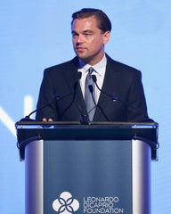 Leonardo Dicaprio speaking at the 20th anniversary of The Leonardo Dicaprio Foundation