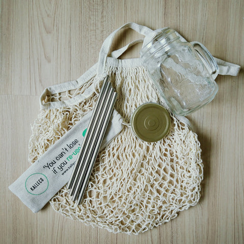 Reusable eco products - organic cotton net tote bag and 4 pack of stainless steel metal drinking straws