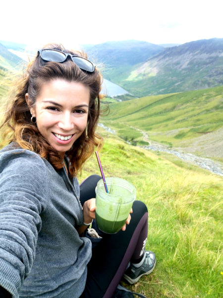 Metal straw smoothie healthy breakfast Scafell Pike walking eco holiday