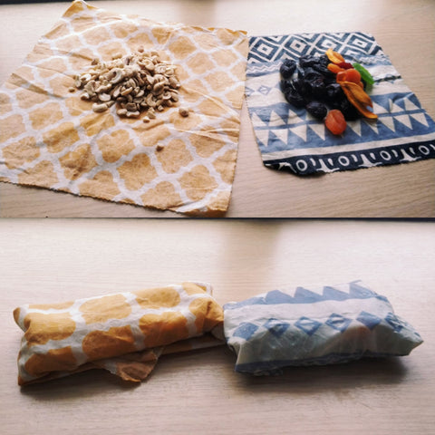 Beeswax wraps zero waste living dried fruit nuts minimalist living