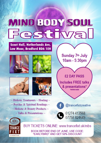 Poster information on Mind Body Soul Festival