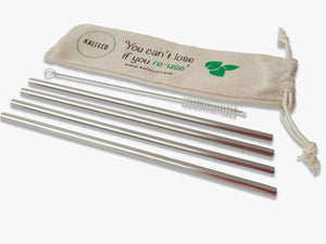 Four Straight Metal Straws in Linen Bag and One Straw Cleaner