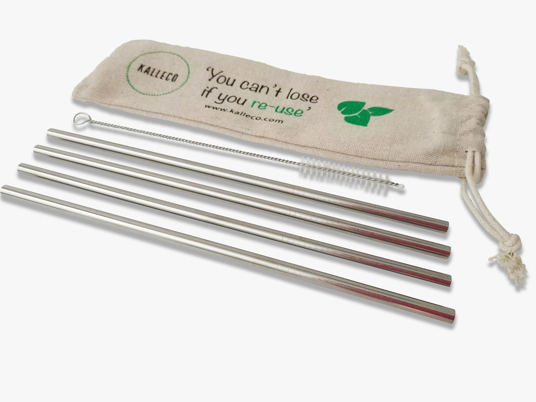 4 pack of straight metal straws with a straw cleaner and a linen pouch to carry the straws in