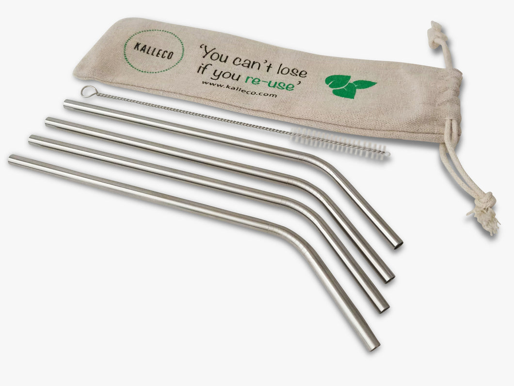 4 Curved Metal Straws in Linen Bag and 1 Straw Cleaner