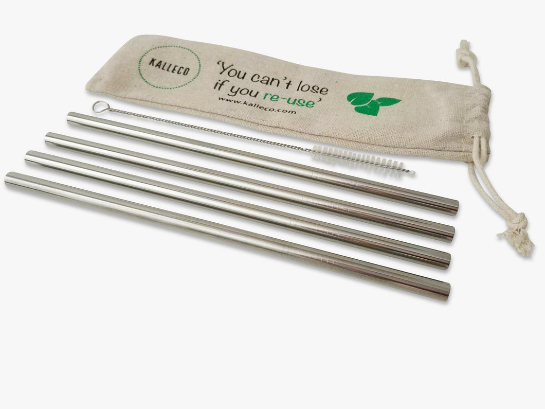 4 pack of metal Smoothie Straws and straw cleaner with reusable linen straw pouch