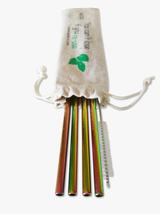 Colourful metal straws in a reusable linen straw pouch