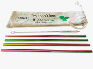 4 pack of straight rainbow coloured metal straws and cleaner