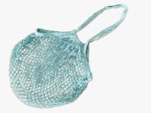 Blue organic cotton net tote bag for fruit and vegetable shopping