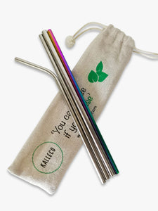 4 pack of reusable drinking straws in zero waste packaging