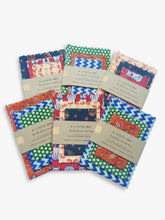 6 packs of reusable beeswax food wraps showing a variety of fun patterns available