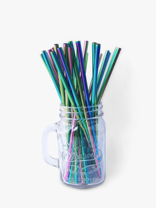 Straight rainbow coloured metal straws in packs of 25 for wedding guests