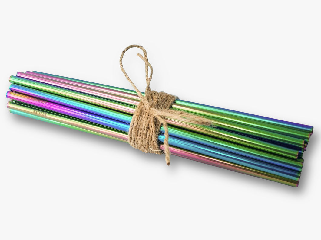 Single rainbow metal straws available for wholesale in straight design