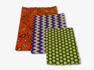 3 sizes of wraps in each pack shown here, small medium and large, in geometric and paisley print
