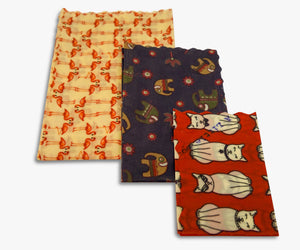 3 sizes of wraps in each pack shown here, small medium and large, in animal print