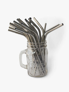 single reusable curved metal straws available for wholesale