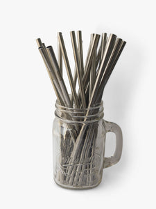 Standard straight metal straws in packs of 25 for wedding guests