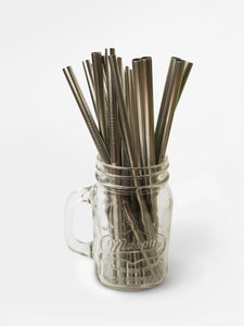 Wide diameter smoothie metal straws in packs of 25 for wedding guests