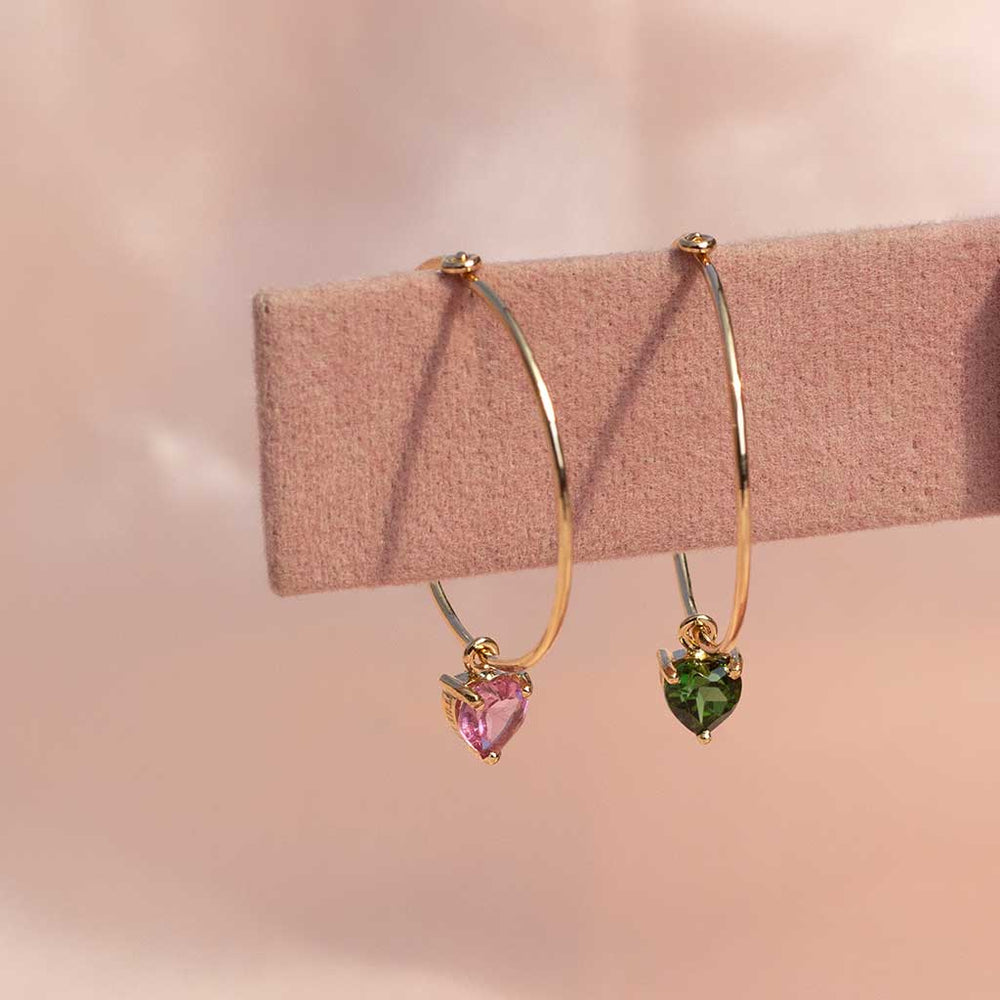Mismatched Hearts on Skinny Hoops