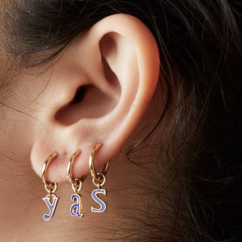 LoveLetters Enamelled Initials Loopy Hoops