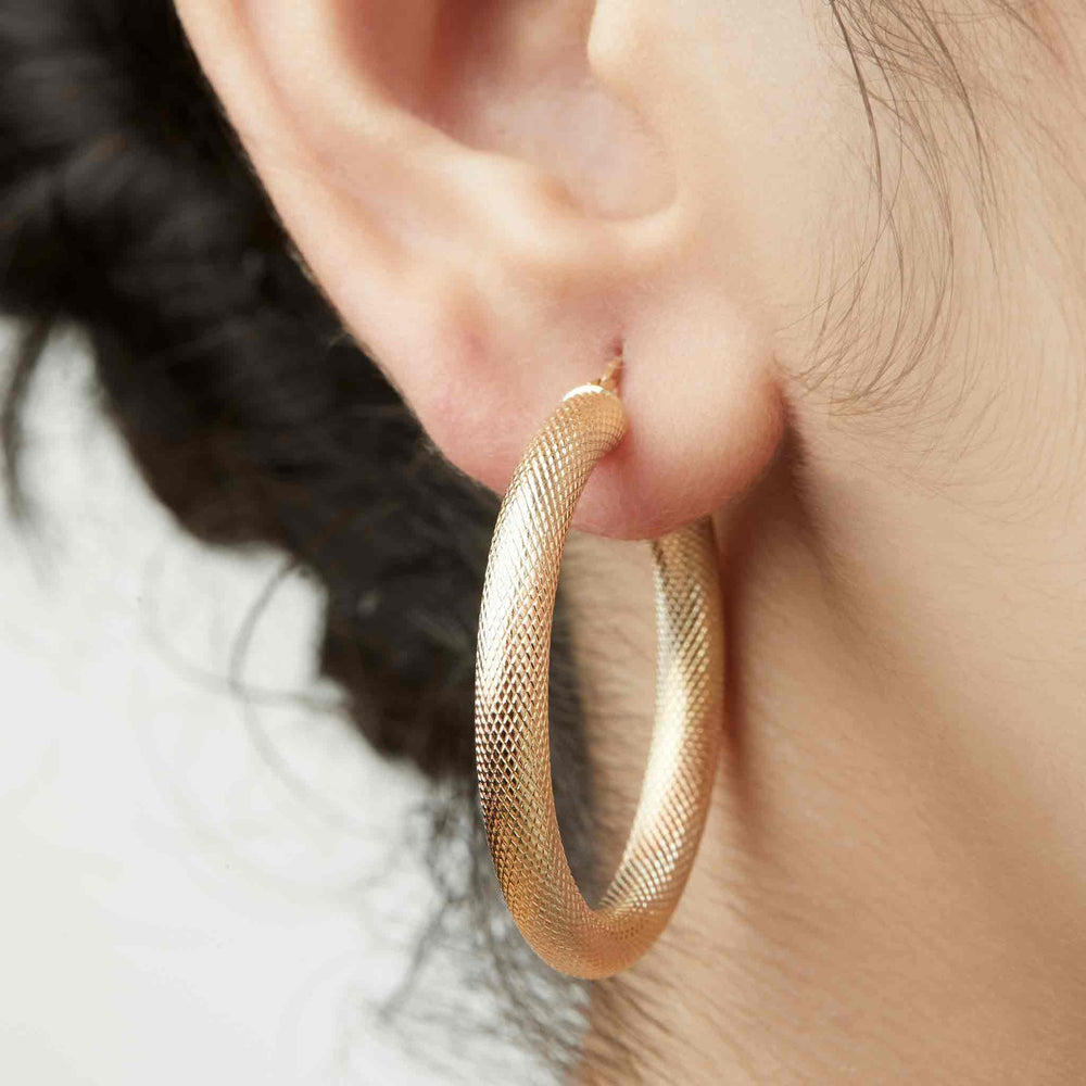 Snakeskin Textured Hoops Large