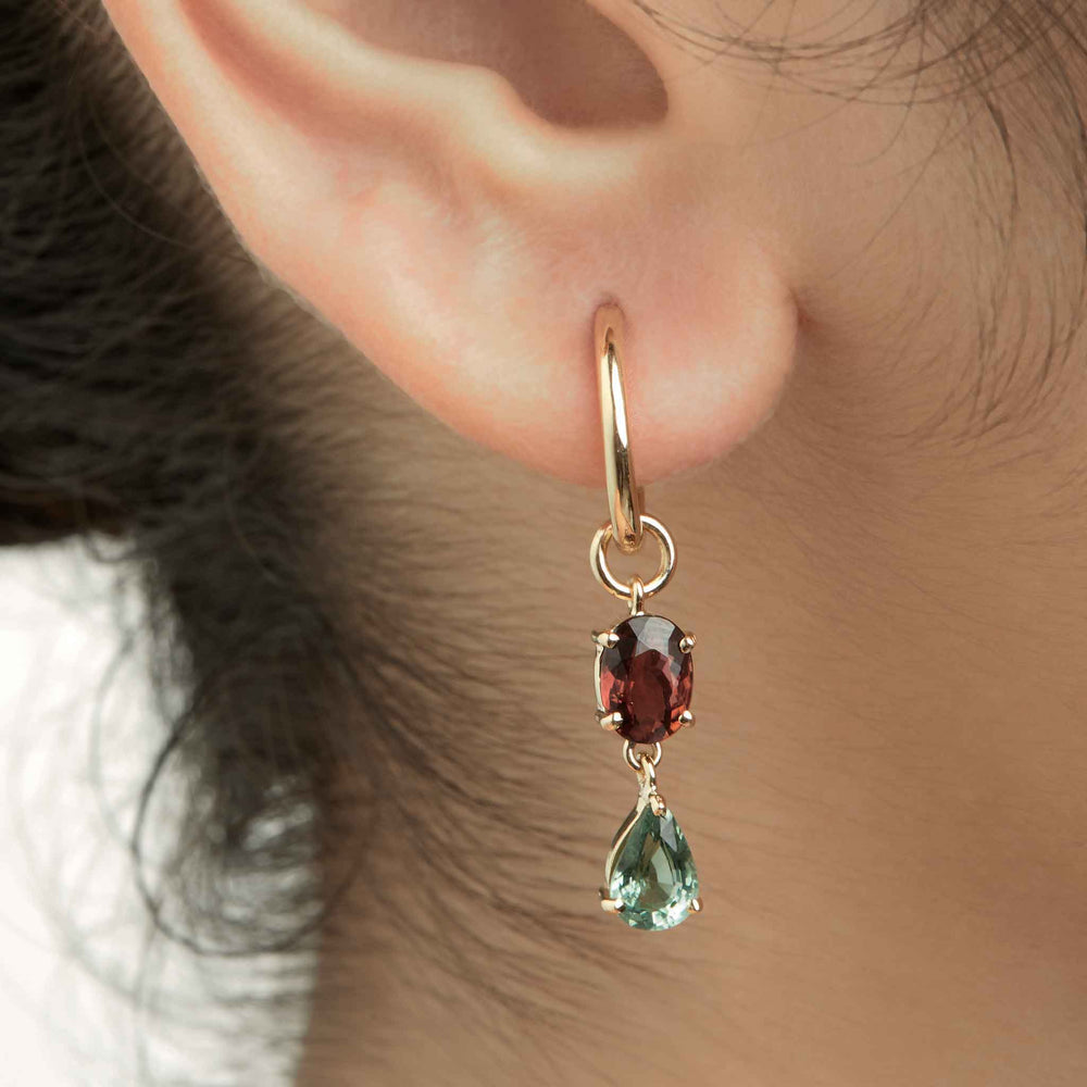 Mismatched Ombre Tourmaline Loops (2+1) + Small Hoops