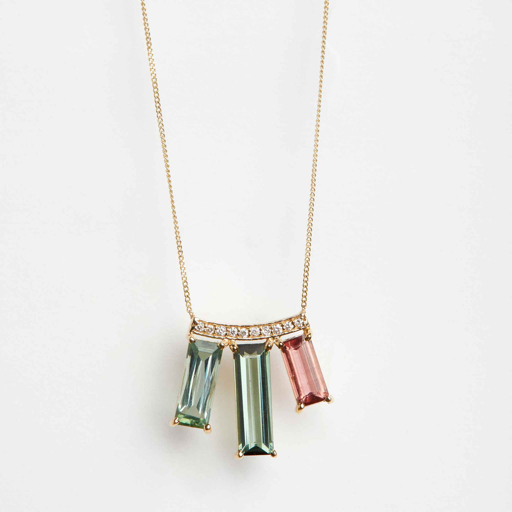 tourmaline diamond pave necklace 18k gold
