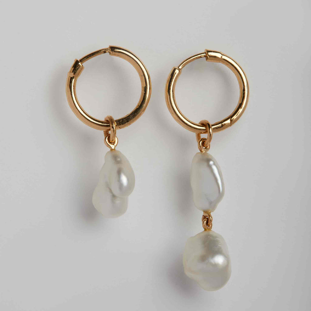 Baroque Pearl 2+1 Mismatched Loops on Hoops