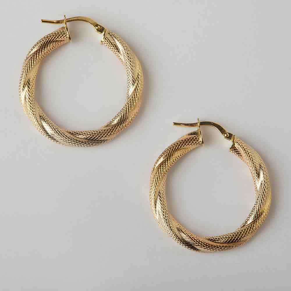 Braided Textured Hoops Round