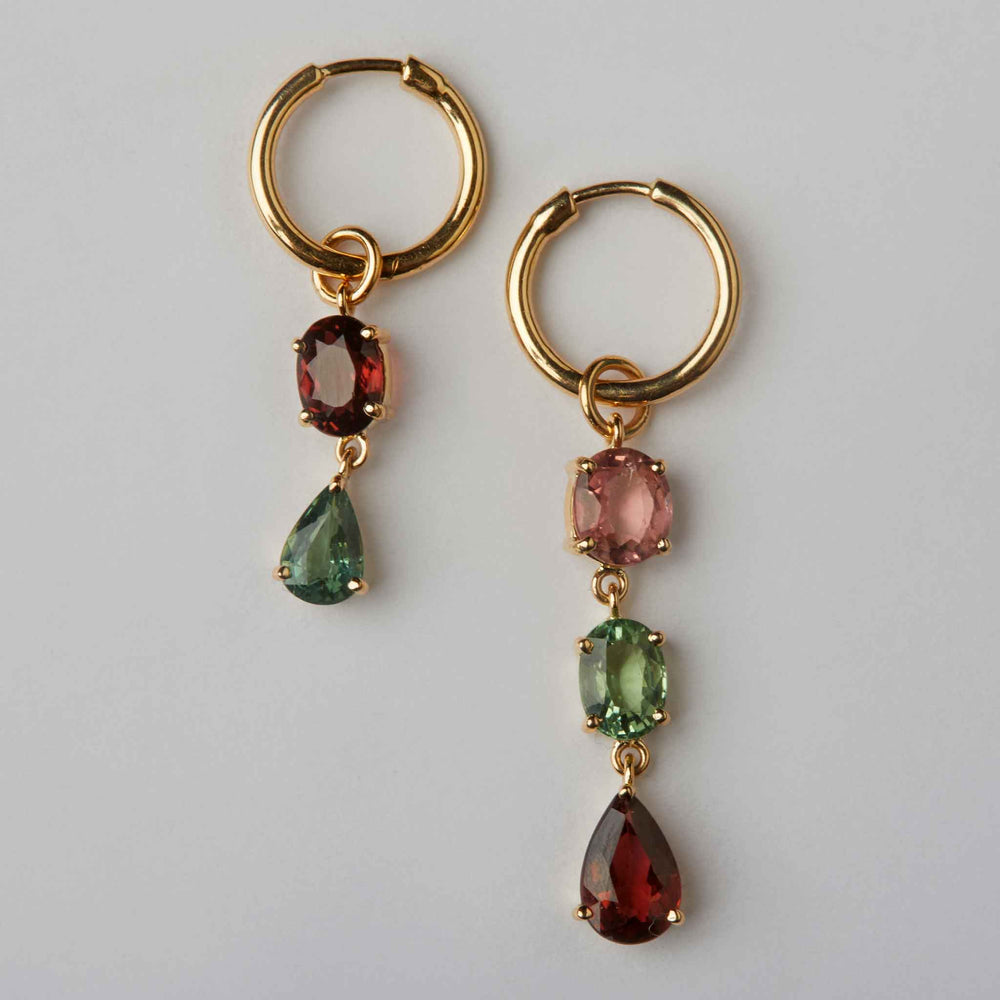 mismatched tourmaline loops hoops earrings 18k gold